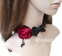 Free Shipping Fashion jewelry set, Vampire fashion retro black lace neckalce female flowers short necklace