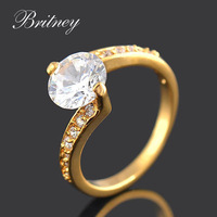 New arrival champagne gold plated women wedding ring,high quality bridal CZ Stone Ring Jewelry Free shipping RW021