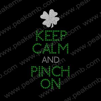 New Design Free Shipping 50Pcs/Lot Keep Calm And Pitch On Irish Iron On Sequin Transfer Glitter Rhinestone Motif Wholesale(China (Mainland))