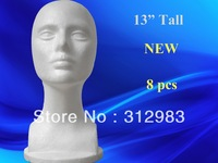 "EMS-8pcs/lot 13"" tall high density-styrofoam mannequin head foam head wig/hat/cap/necklace/microphone display 33cm"