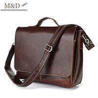 M&D New Arrivals Men Messenger Bag Genuine Leather Briefcases Portfolio Bussiness Handbag