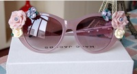 Free shipping 2014 NEW Baroque Women Designer Summer Beach Personalized Oval Rose Flower sun glasses eyewear girl brand outdoor