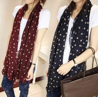 Autumn and winter female dot polka dot silk scarf chiffon cape dual