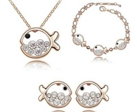 Necklace bracelet earring,Wholesale fashion white gold plated fish crystal rhinestone jewelry set PS193