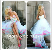 Hot Style Cheap Sweatheart Beading High Low White Prom Dresses Sexy Cocktail Dress