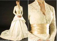 Long Sleeve Ivory Lace/Satin V-neck Wedding Dresses