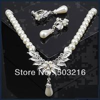 High Quality Austrian Clear Crystal Silver Plated Wedding Party Bridal Jewelry Set