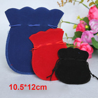 Wholesale 100pcs/lot 10.5*12 cm velvet gift pouches for jewelry display gourd shape lovely jewelry bag pouch mix colors