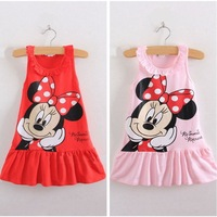 Wholesale 5 PCS/ LOT new 2014 summer girl dress children clothing Cartoon minnie mouse MINI Tops leisure dresses CARTOON