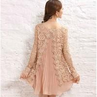 Fashion Spring Maternity Clothing Loose Plus Size Chiffon One-piece Short Dress Lace Long-sleeve Dress Blouse Maternity Clothing