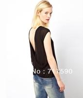 2014 new Women's Deep dorsal V Halter cross bare back tee black light through a sense of female T-shirt tee loose blouse T-shirt