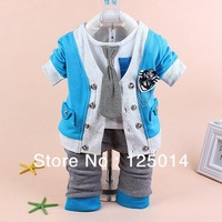 three-piece 2014 Children's Spring and Autumn New England style fashion casual cotton collision color cartoon suit