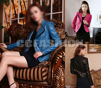 New Spring Autumn Women's Fashion Slim Fit PU Leather Coat Jackets Tops 3Colors 3Sizes