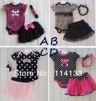 2014 summer baby Set romper headband skirt girl fashion cotton toddler jumpsuit,infant Carters bodysuit 3 pcs baby clothing set