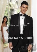 High quality wool black customized tuxedo male suits 5 pieces(Coat+Pants+Vest+tie+Shirt)TZ018 latest design of wedding suits