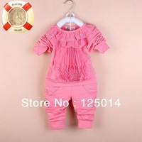 two-piece2014 girl' s  new Spring and Autumn fashion casual cotton lace hot drilling suit
