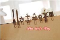 Free ship 1lot=40pcs/korean stationery kawaii cute vintage bookmarks  metal bookmark school zakka supplies