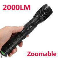 Free shipping CREE XM-L T6 2000 lumens LED Flashlight Torch 5 Modes Zoomable Lantern Lintern E9