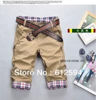 Men plaid shorts pants rolled hem male 1/2 patchwork buttons capri trousers cotton sweatpants running joggings army green  xxl