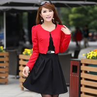 new quality festive red long-sleeved two-piece dress Slim 2014 new style