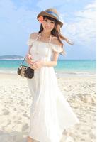 New Elegant White Lace Spliced Girl Women Lady Empire Waist Sleeveless Full-Length Dress Beach Sundress