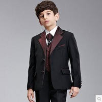 2014 New High quality Gentlemen 7pcs children's clothing set kids suits blazers fashion boys wedding wear formal dress child set