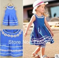 new 2014 summer 100%cotton girls blue floral dress with lace flower girls summer dresses kids dress children clothing 2T-7T