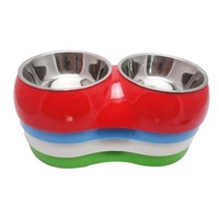 Free Shipping! Pet Supplies Quality Two-in-one Double Bowl Water Basin For Dog Cat  S M L