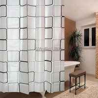 New 2014 Modern shower curtain Waterproof Square Grid Metal Buckle Bathroom Shower Curtain 180cmx180cm bath curtain TK0911..
