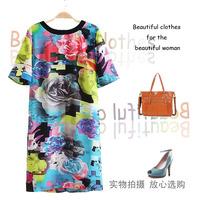 Fashion women's colorful flower big multicolour square grid color block decoration short-sleeve dress 1 - 11205
