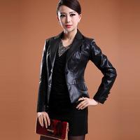 2014 spring women's slim ol short design sheepskin genuine leather blazer leather clothing coat