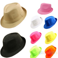 Candy Solid Color Men Women Casual Plain Casual Dress Fedora Cuban Style Upturn Short Brim Cap Hat New Fashion Accessories