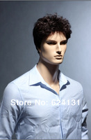 New Style Synthetic Fashion Wig Dark Brown Short Curly Wig For Business Man Handsome Men Wigs Hotsale 100% Kanekalon Hair wig