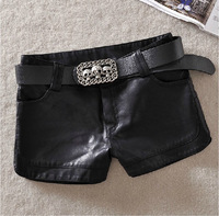 2014 Spring&summer PU leather women's shorts,ladies' boot cut,Vintage Slim Slit Faux Leather Shorts +free shipping JF