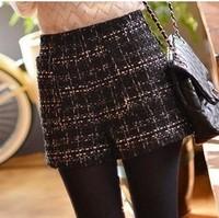 0801 2014 Autumn new arrival  tweed fabric women's shorts woolen boot cut jeans high waist plaid basic shorts free shipping