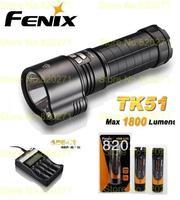 Free Shipping Fenix TK51 L2 LED flashlight 1800 lm+(Fenix ARE-C2 Charger + ARB-L2S 3400 mah 18650 li rechargeable battery 3Pcs )