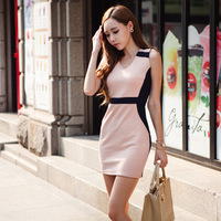 European and American women's 2014 spring hit color stitching package hip thin V-neck sleeveless dress  bottoming nightclub