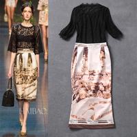 Free shipping 2014 WOMEN NEW ARRIVAL printing retro stitching bud silk hook flower catwalk dress
