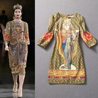 2013 Winter Women's New Big European and American Baroque Characters printing lantern sleeve dress