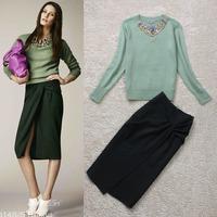 2013 autumn and winter women fashion beaded diamond long-sleeve sweater slim hip bust skirt set