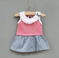Free shipping Girls cater's Carter navy cotton lace collar style vest dress