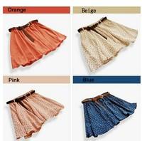 4 Colors Pleated Floral Chiffon Women Ladies Cute Mini Skirt Belt Include F3051