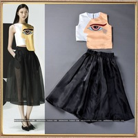 2014 Fashion silk high quality personality pattern vest black tulle dress bust skirt twinset free shipping