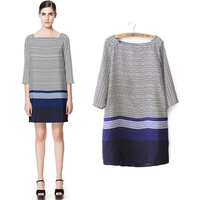 Fashion 2013 summer slit neckline multicolour stripe color block chiffon three quarter sleeve one-piece dress