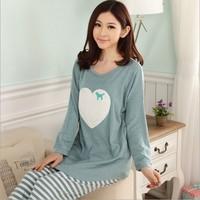 New Spring Women Long Sleeve Wool Flock Cute Heart Pattern Pajamas Sleepwear Sleep Wear Night Clothes