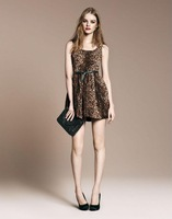 2013 fashion leopard print one-piece dress o-neck short-sleeve women's tank dress puff skirt