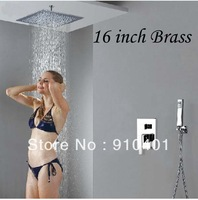 "Free Shipping Wholesale And Retail Promotion Luxury Larger 16"" (40cm) Rain Shower Faucet Set Celling Mounted Rain Shower Tap"