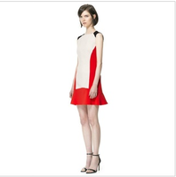 Fashion colorant match color block knitted women's slim one-piece dress red