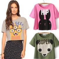 Free shipping New arrive summer 2014 women fashion animal print T shirt women short paragraph personalized T-shirts crop top