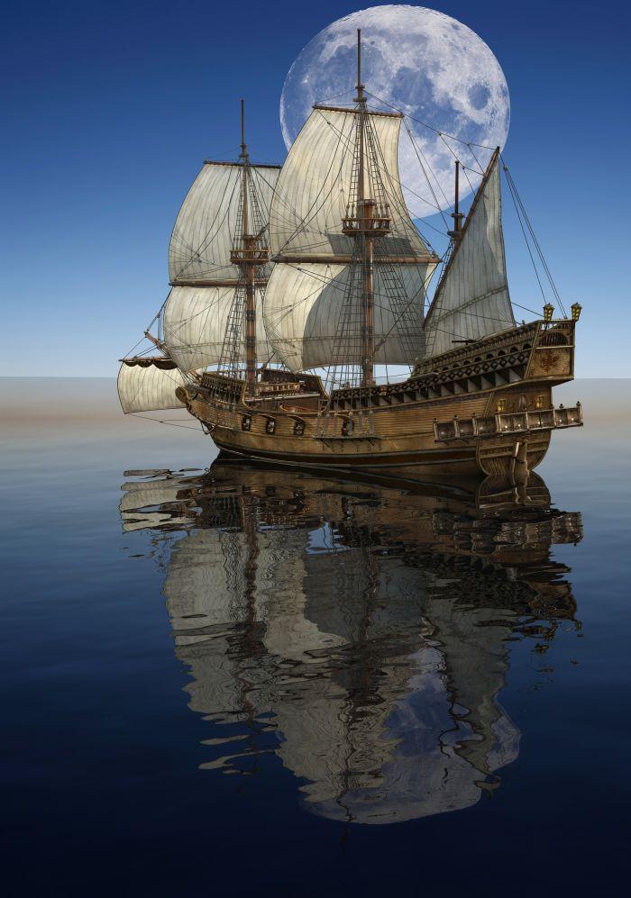 Sailing Ship Cartoon Sailing Ship Seascape Oil